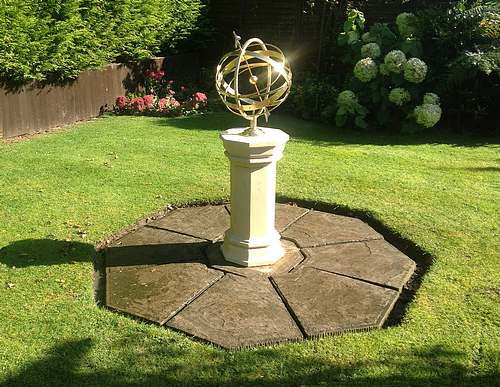 Ecliptic armillary glinting in the sun